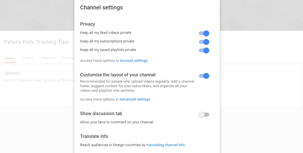 Configuring your company YouTube channel settings.