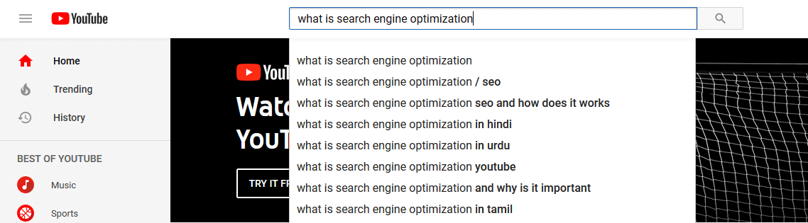 """YouTube SEO: A YouTube search for """"search engine optimization""""."""