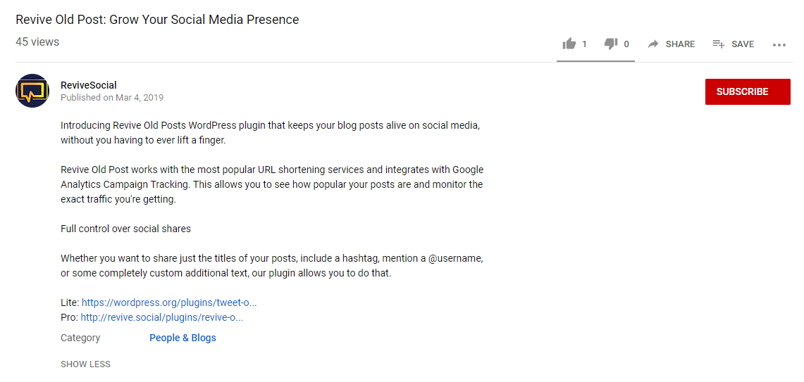 A YouTube video description.