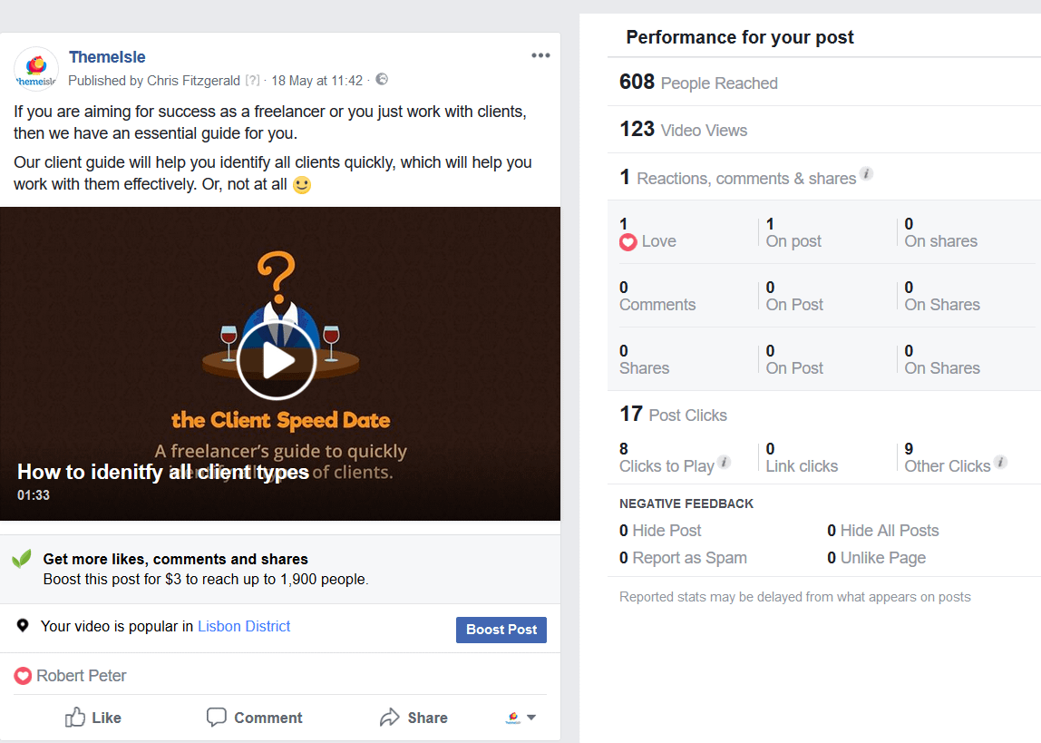 This is the video post that failed because it doesn't seek to interact with the audience.