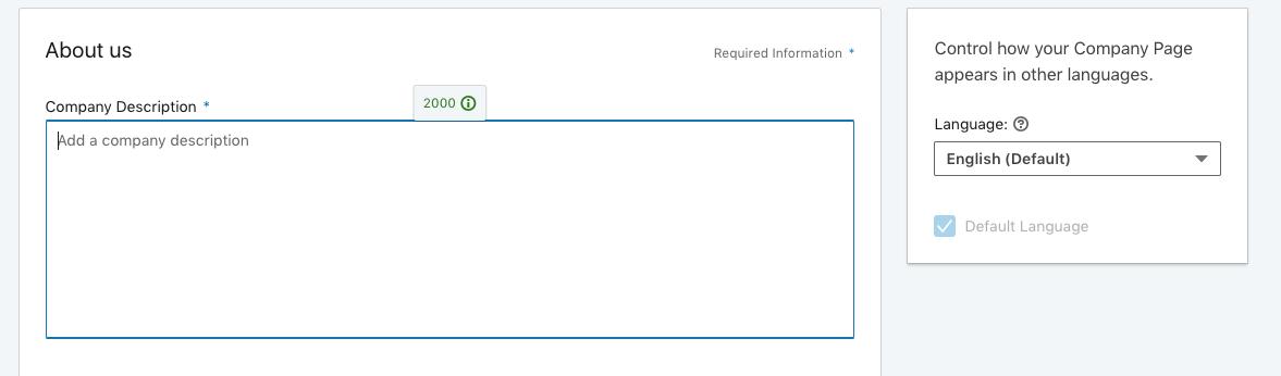 Adding a description to your LinkedIn company page.