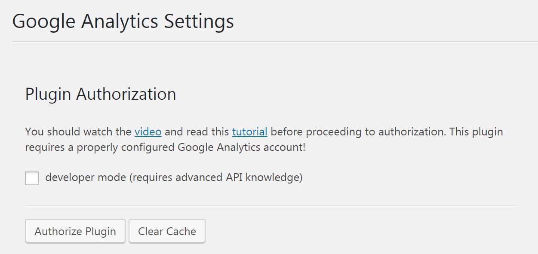 Authorizing the Google Analytics Dashboard for WP plugin.
