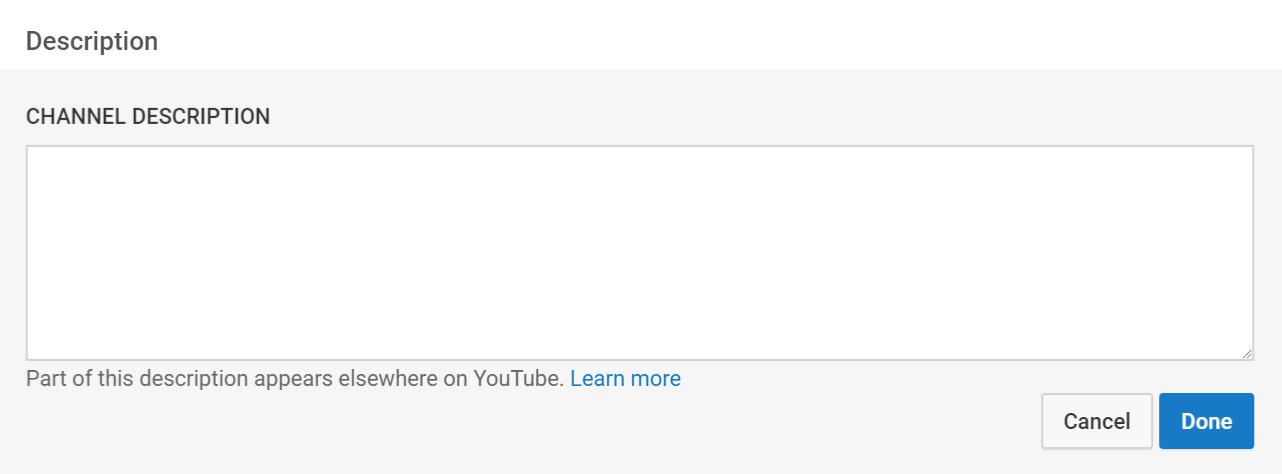 The YouTube channel description field.