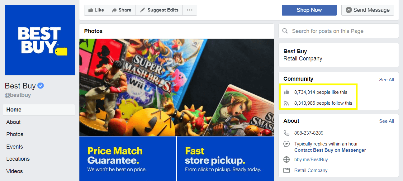 Facebook audience numbers for Best Buy's Facebook page.