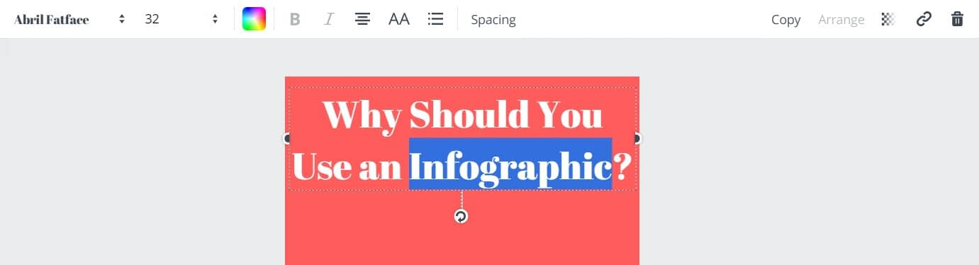 How to make infographics with Canva - Edit text