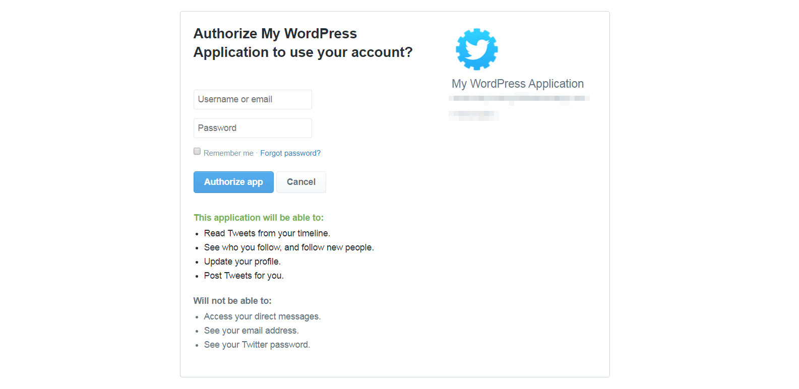 Authorizing sharing for a Twitter account.