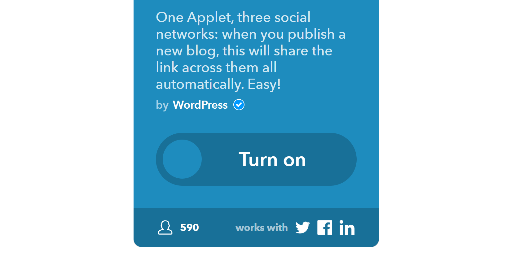 Turning on an IFTTT app.