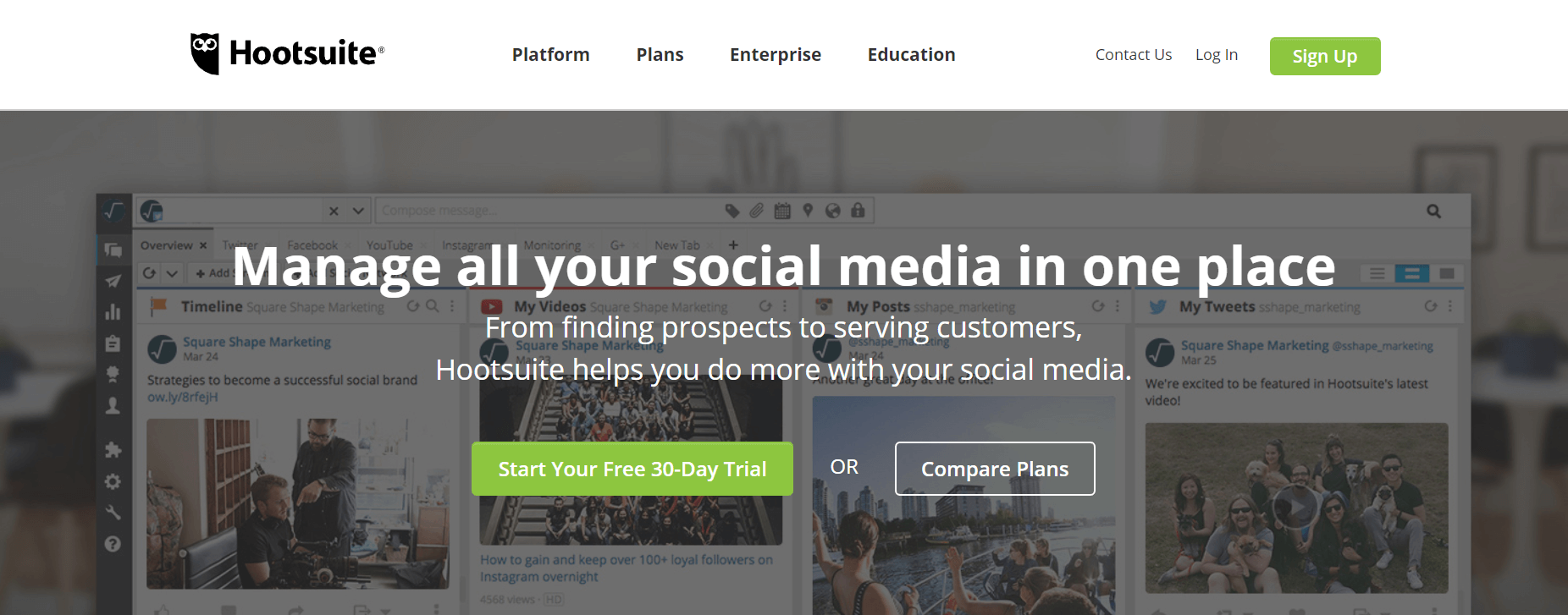 The Hootsuite website.