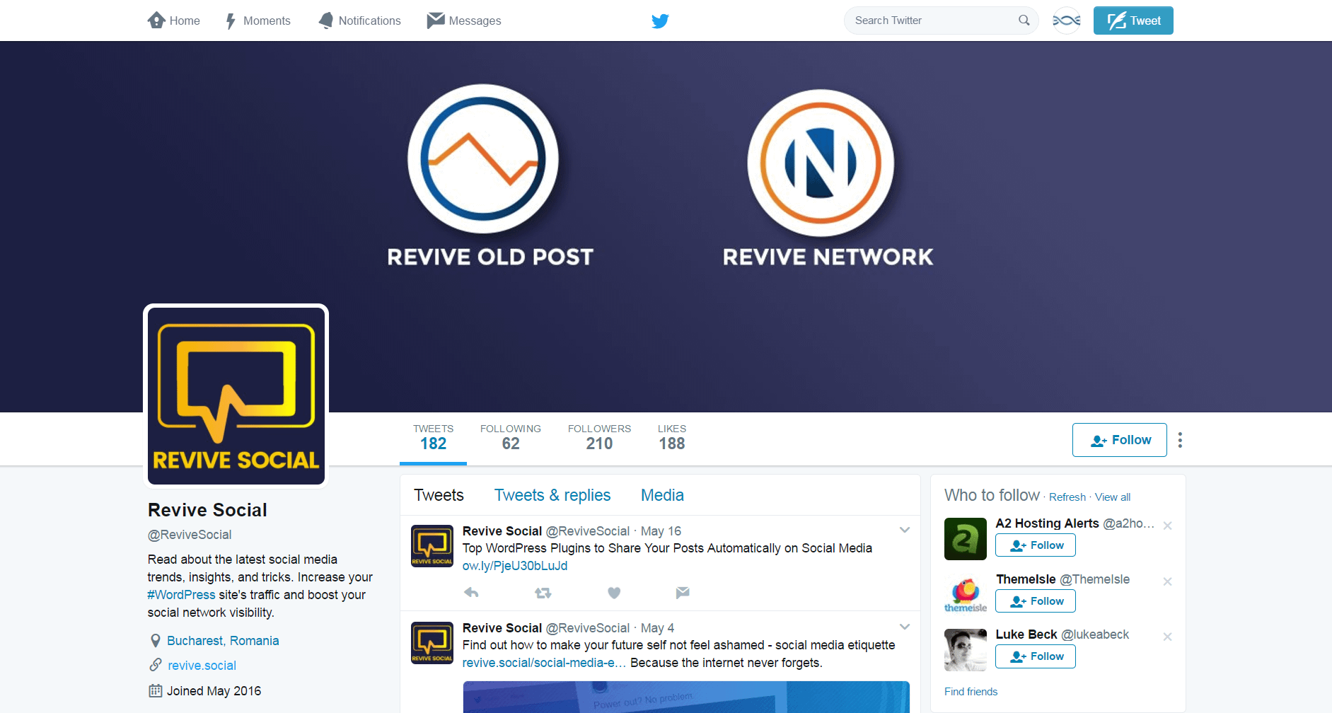The Revive.Social Twitter feed.