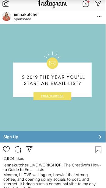Instagram ads Jenna Kutcher