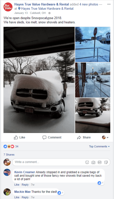 hayes true value facebook post