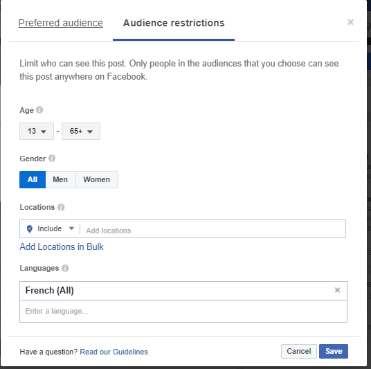 Manage custom languages on Facebook