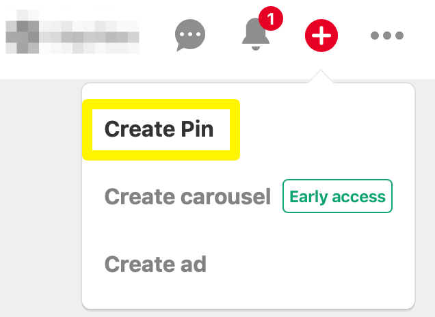An image showing where to find the Create Pin option.