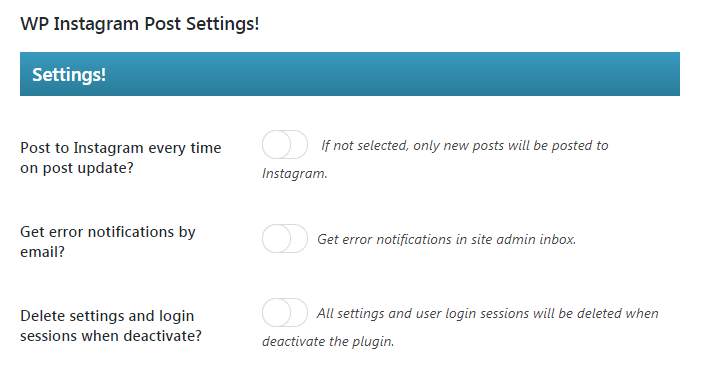 The WP Instagram Post and Widget plugin's settings.
