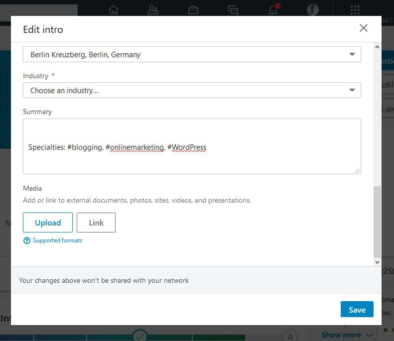 how to use hashtags on Linkedin add tags to profile