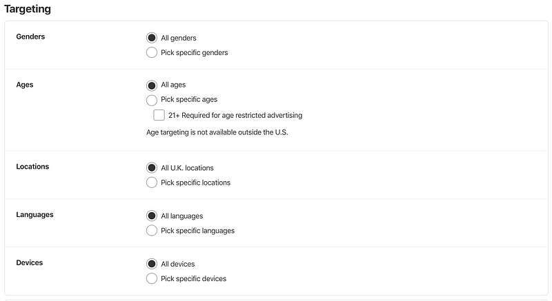 The various options you can adjust to target your chosen audience with your ads.
