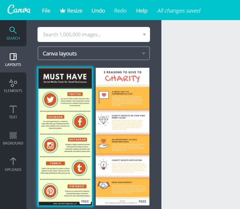 How to make infographics with Canva - Layouts