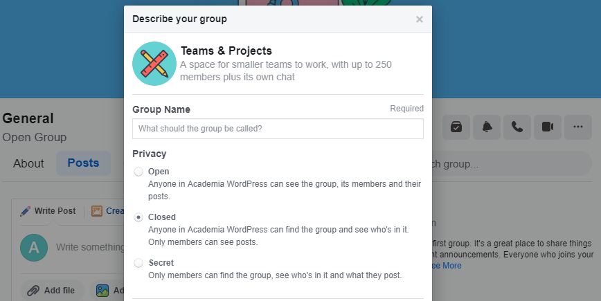 Configuring your group's privacy.