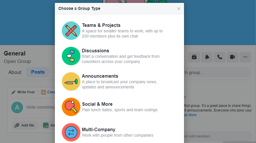 Choosing what type of group to create.