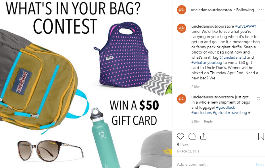 uncle dans - Instagram sweepstakes