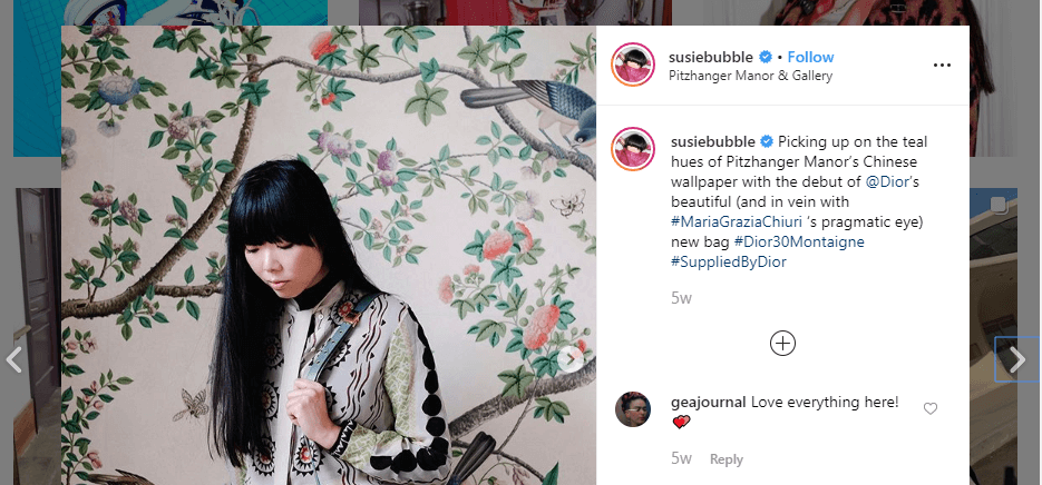 Dior product placement in Susie Lau's Instagram feed - how to become an influencer