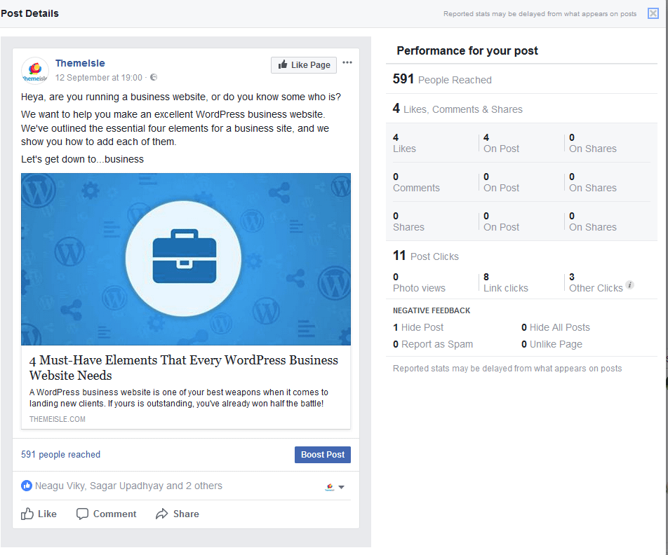 The results of a recent link post fail on Facebook