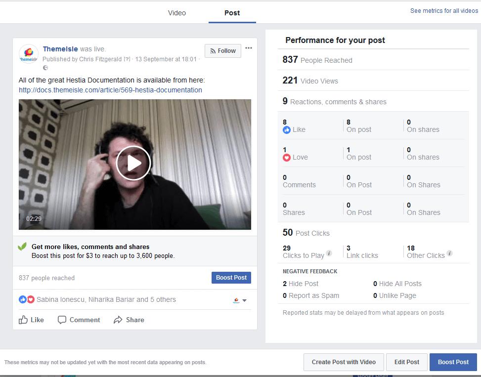 Facebook Live Stream 1 Results